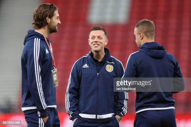 Charlie Mulgrew Callum McGregor and Leigh Griffiths of Scotland in discussion prior to the FIFA 2018 World Cup Group F Qualifier between Scotland and...