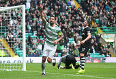 Charlie Mulgrew of Celtic celebrates after he scores during the Scottish Premiership League Match between Celtic and Dundee United at Celtic Park on...