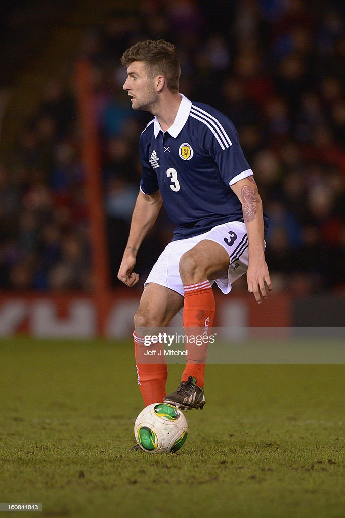 Charlie Mulgrew of Scotland in action during the international friendly match between Scotland and Estonia at Pittodrie Stadium on February 6, 2013 in Aberdeen, Scotland.