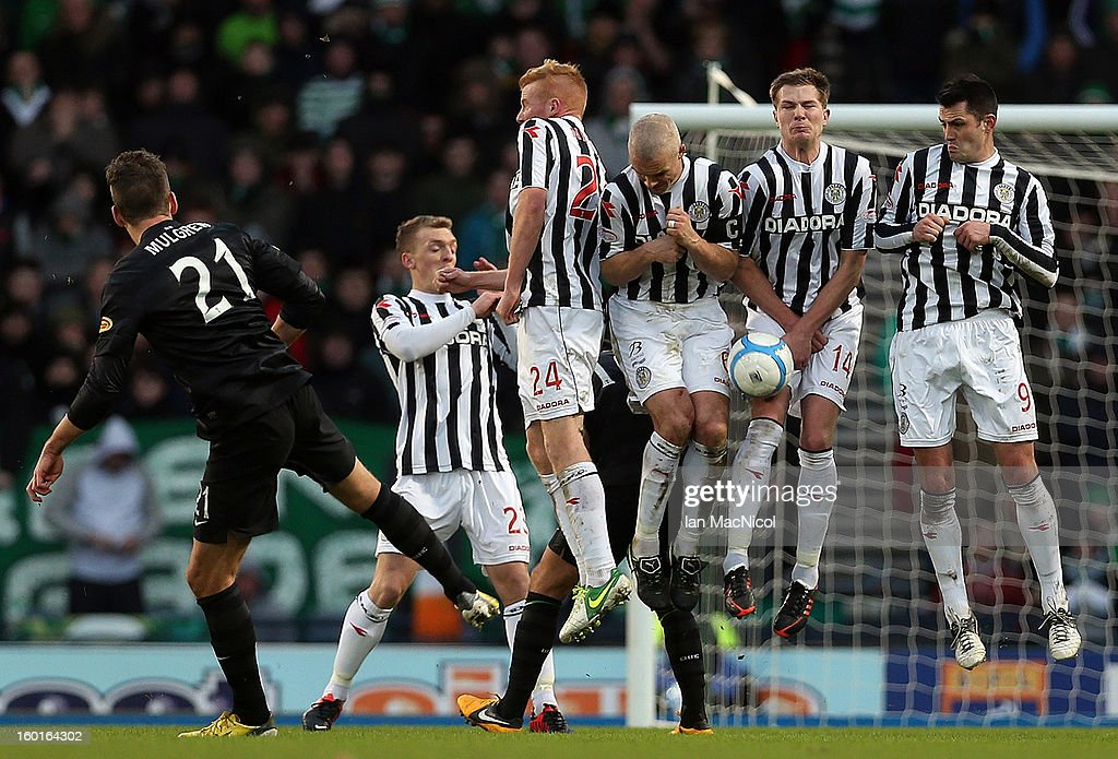 Charlie Mulgrew smashes a free kick against the St Mirren wall during the St Mirren and Celtic Scottish Communities League Cup Semi Final match at Hampden Stadium on January 27, 2013 in Glasgow, Scotland.