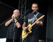 Charlie Musselwhite and Ben Harper perform during the Rock The Oceans Tortuga Festival on April 13 2013 in Fort Lauderdale Florida