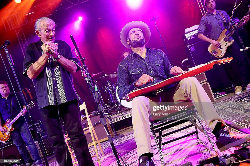 Charlie Musselwhite and Ben Harper perform in concert at Stubbs on September 11 2013 in Austin Texas