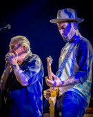 Charlie Musselwhite and Ben Harper perform on stage at Nice Jazz Festival on July 9 2013 in Nice France