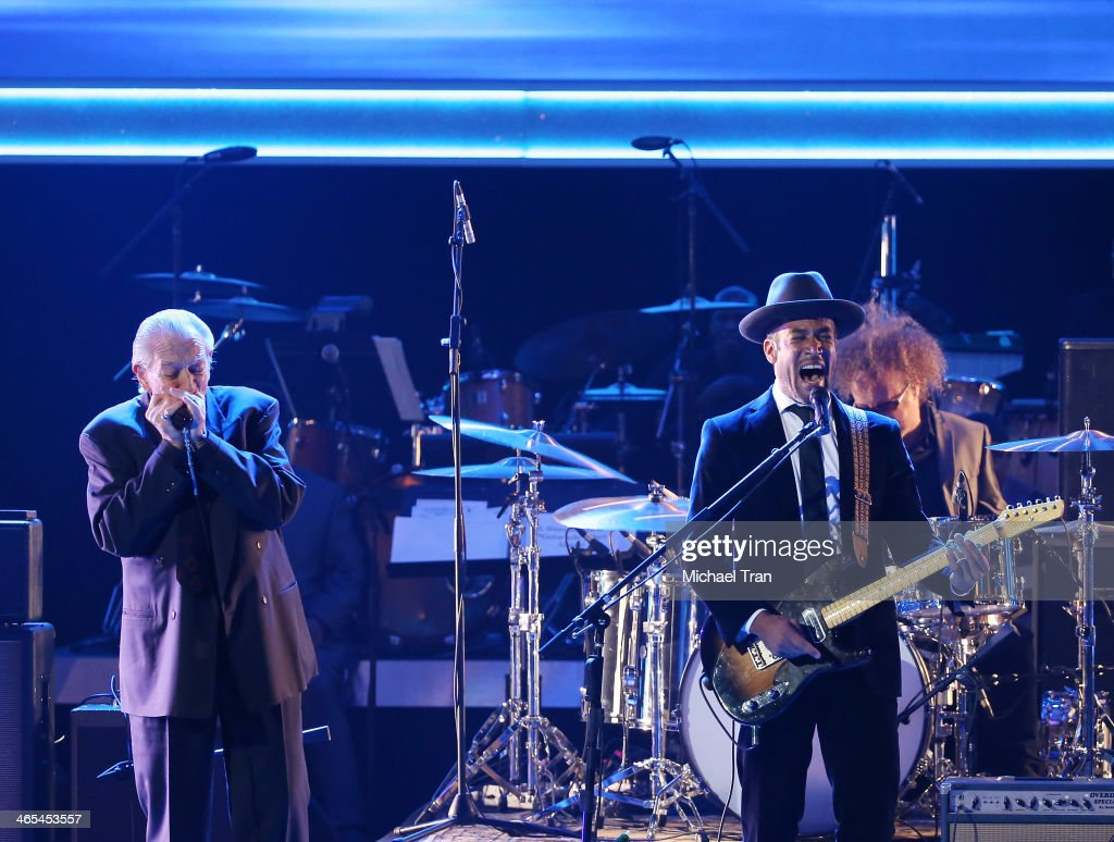 Charlie Musselwhite and Ben Harper perform onstage during the 56th GRAMMY Awards held at Staples Center on January 26 2014 in Los Angeles California