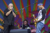 Charlie Musselwhite and Ben Harper performs during the 2013 New Orleans Jazz Heritage Music Festival at Fair Grounds Race Course on April 27 2013 in...