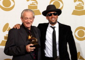 Charlie Musselwhite and Ben Harper pose in the press room at the 56th Annual GRAMMY Awards at Staples Center on January 26 2014 in Los Angeles...
