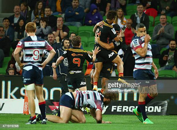 Charlie Ngatai of the Chiefs celebrates after scoring during the round 12 Super Rugby match between the Rebels and the Chiefs at AAMI Park on May 2...