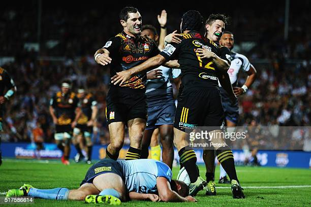 Charlie Ngatai of the Chiefs celebrates after scoring his third try during the round five Super Rugby match between the Chiefs and the Western Force...