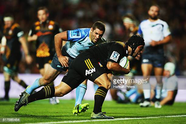 Charlie Ngatai of the Chiefs dives over to score a try during the round five Super Rugby match between the Chiefs and the Western Force at FMG...