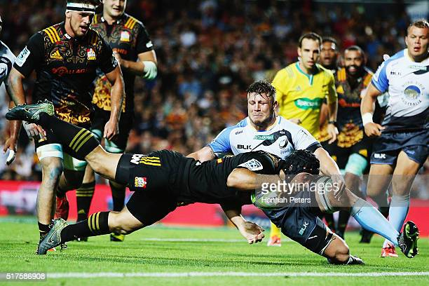 Charlie Ngatai of the Chiefs dives over to score his fourth try during the round five Super Rugby match between the Chiefs and the Western Force at...