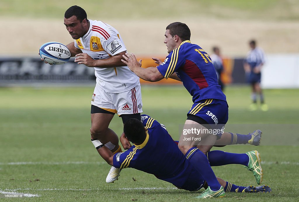 Charlie Ngatai of the Chiefs is tackled during the 2013 Super Rugby pre-season friendly match between the Chiefs and the Highlanders at Owen Delany Park, Taupo on February 2, 2013 in Taupo, New Zealand.