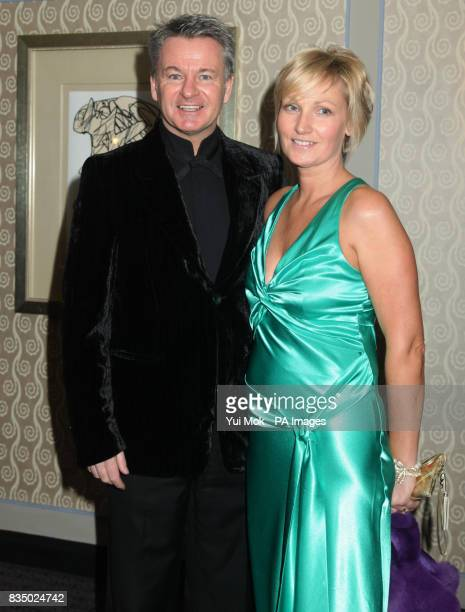 Charlie Nicholas and wife arriving for the Marriott Burns Night in aid of Help a London Child at the London Marriott in Grosvenor Square London