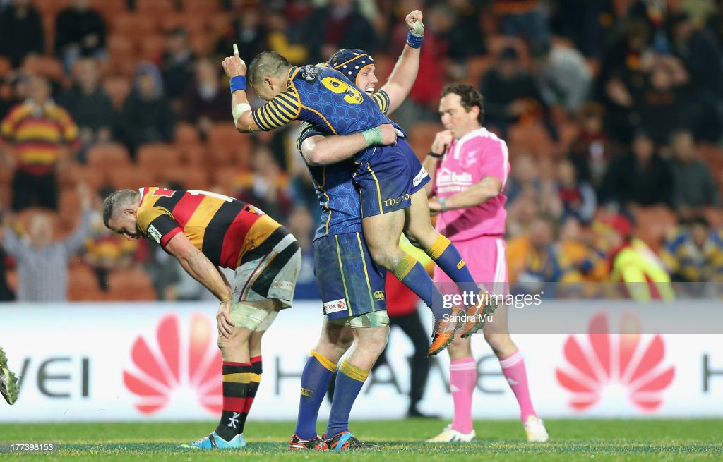 Charlie O'Connell and Fumiaki Tanaka of Otago celebrate winning the round two ITM Cup Ranfurly Shield match between Waikato and Otago at Waikato...