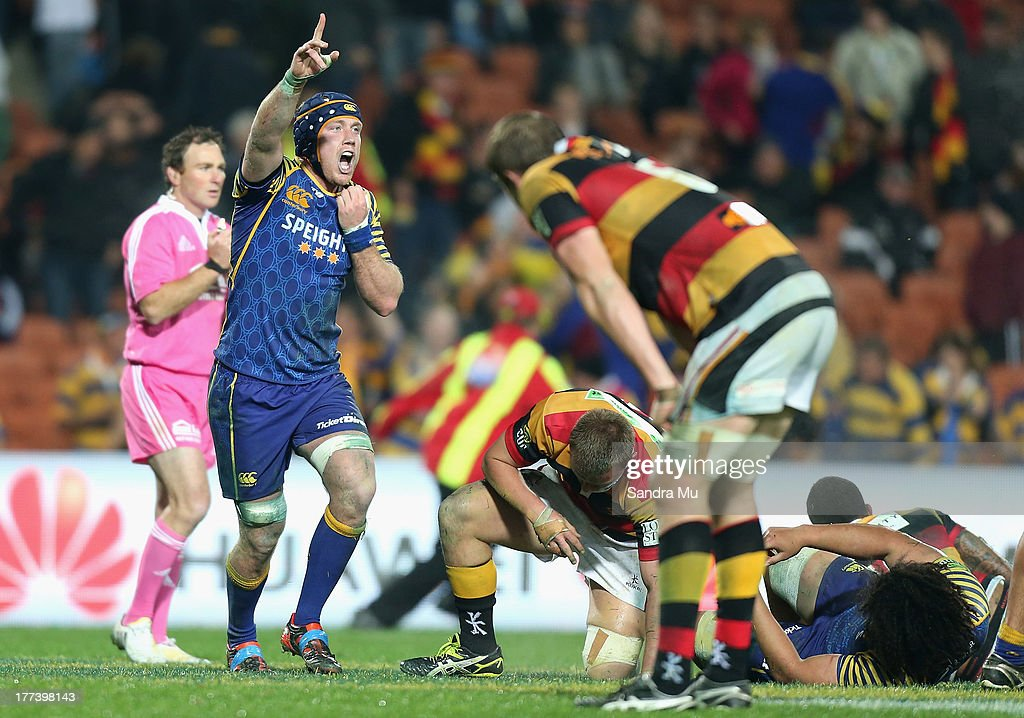 Charlie O'Connell of Otago celebrates winning the round two ITM Cup Ranfurly Shield match between Waikato and Otago at Waikato Stadium on August 23...