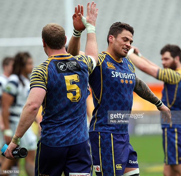 Charlie O'Çonnell and Ezra Taylor of Otago celebrate victory over Auckland during the round nine ITM Cup match between Otago and Auckland at Forsyth...