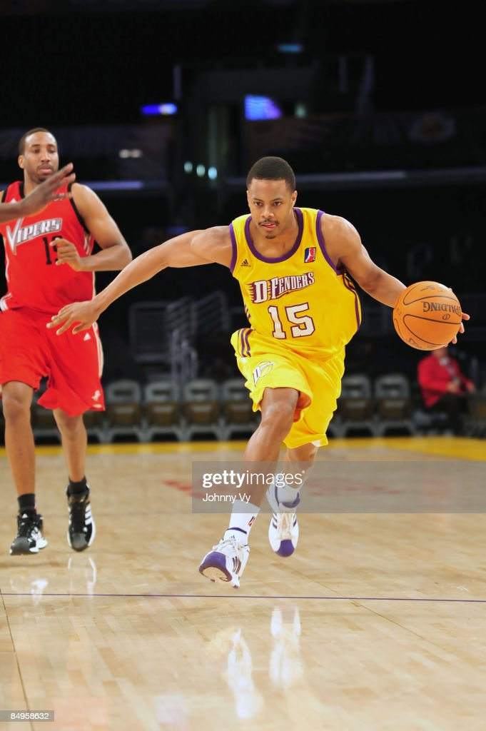 Charlie Parker of the Los Angeles DFenders brings the ball up the court during a game against the Rio Grande Valley Vipers at Staples Center on...