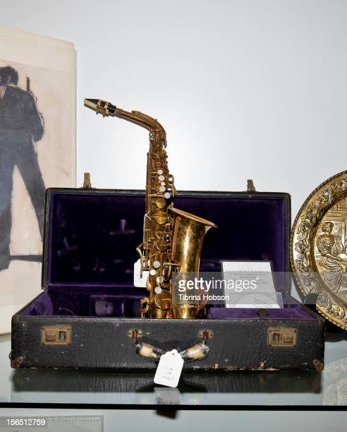 Charlie Parker's Buescher Aristocrat Saxophone on display durning the Bonhams media preview day for memorabilia of silver screen and rock n' roll...