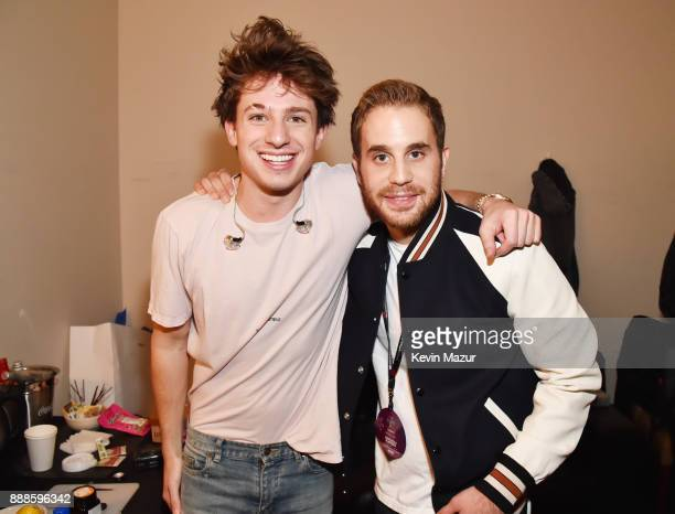 Charlie Puth and Ben Platt attend Z100's Jingle Ball 2017 backstage on December 8 2017 in New York City
