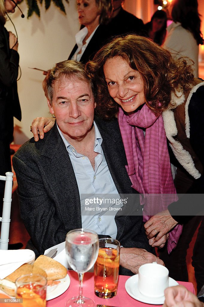Charlie Rose and Diane Von Furstenburg attends day 3 of the 'Women In The World Stories and Solutions' Summit at Hudson Theatre on March 14 2010 in...