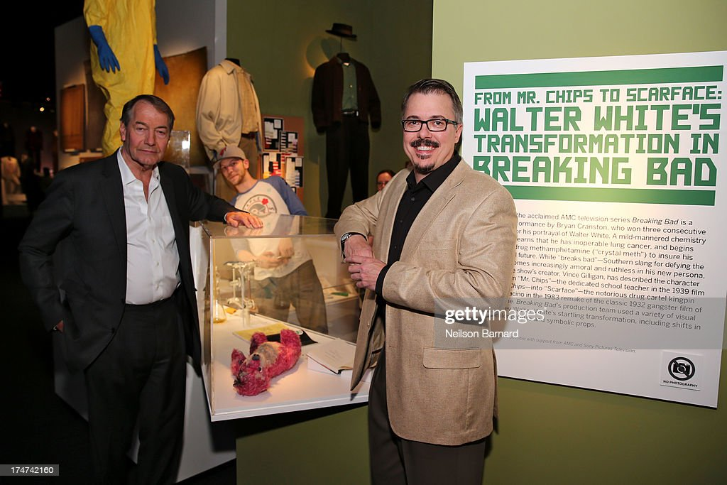 Charlie Rose and Vince Gilligan attend Making Bad: An Evening with Vince Gilligan at Museum of Moving Image on July 28, 2013 in New York City.