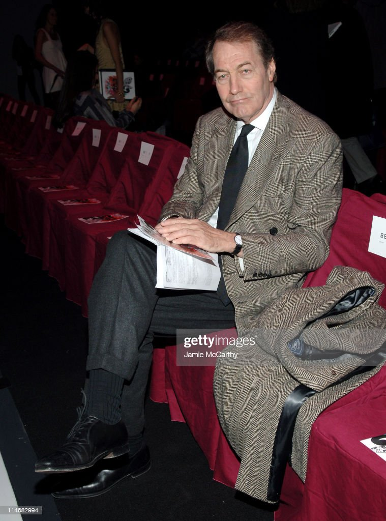 Charlie Rose during Mercedes Benz Fashion Week Fall 2007 Diane Von Furstenberg Front Row and Backstage at The Tent Bryant Park in New York City New...