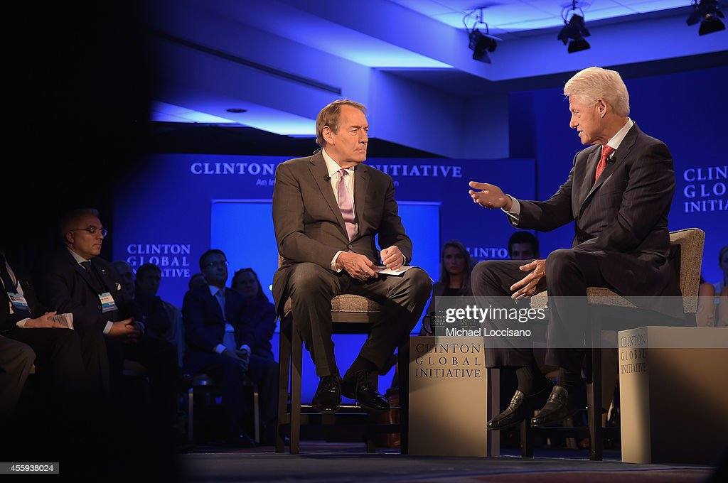 Charlie Rose interviews Former US President Bill Clinton during the 'CGI Conversation Hosted by PBS's Charlie Rose' for the Clinton Global Initiative...