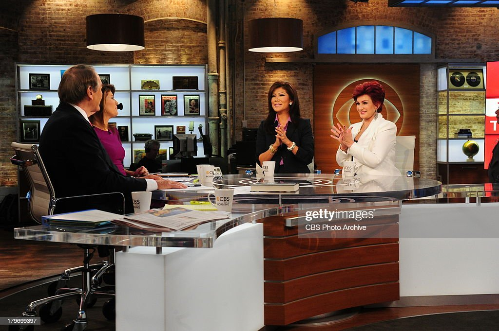 Charlie Rose, left, and Norah O'Donnell, Julie Chen and Sharon Osbourne on the set of CBS This Morning on Friday, Sept. 6, 2013 on the CBS Television Network.