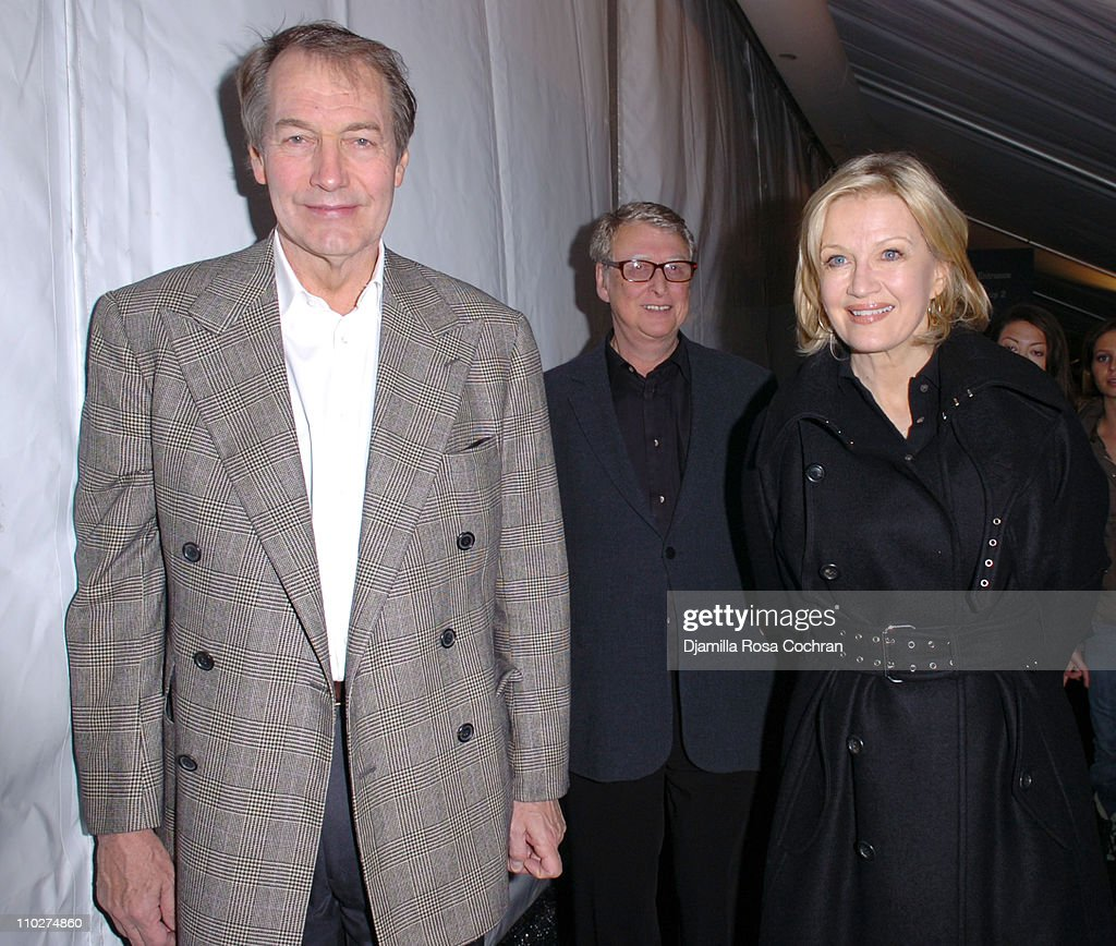 Charlie Rose Mike Nichols and Diane Sawyer during Olympus Fashion Week Fall 2006 Seen Around Tent Day 3 at Bryant Park in New York City New York...