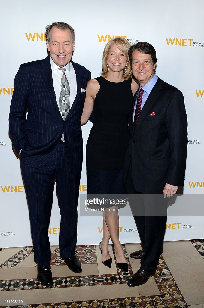 Charlie Rose Paula Zahn and Neal Shapiro attend the WNET 2014 Gala at Cipriani 42nd Street on April 1, 2014 in New York City.