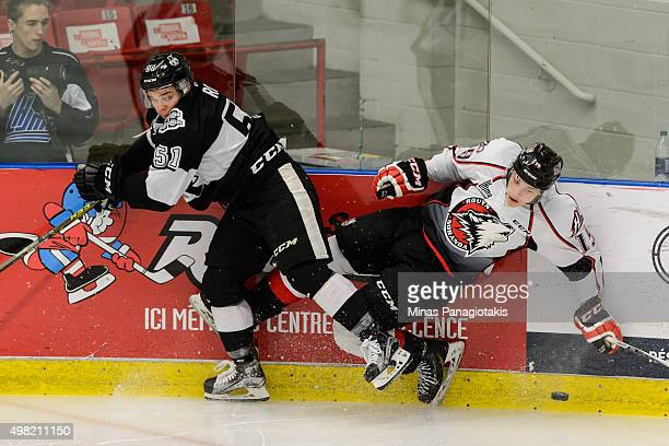 Charlie Roy of the BlainvilleBoisbriand Armada checks Antoine Waked of the Huskies de RouynNoranda during the QMJHL game at the Centre d'Excellence...