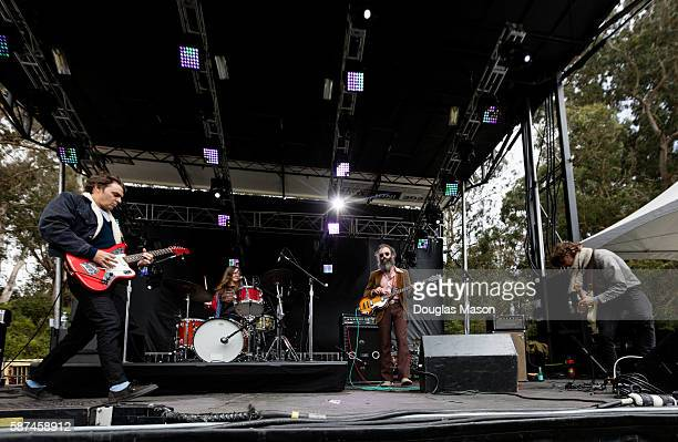 Charlie Saufley Meg Baird Noel Von Harmonson and Ethan Miller of Heron Oblivion perform during the Outside Lands Music Festival 2016 at Golden Gate...