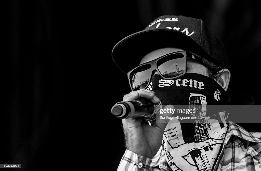 Charlie Scene of Hollywood Undead performs during a show as part of the Maximus Festival at Parque de la Ciudad on September 10, 2016 in Buenos Aires, Argentina.