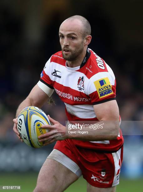 Charlie Sharples of Gloucester runs with the ball during the Aviva Premiership match between Bath and Gloucester at the Recreation Ground on April 30...