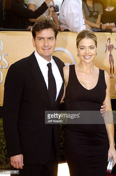Charlie Sheen and Denise Richards during 2005 Screen Actors Guild Awards Arrivals at The Shrine in Los Angeles California United States
