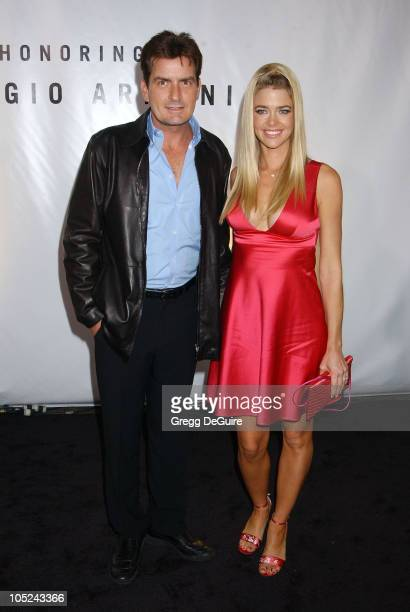 Charlie Sheen and Denise Richards during Giorgio Armani Receives First 'Rodeo Drive Walk Of Style' Award at Rodeo Drive in Beverly Hills California...