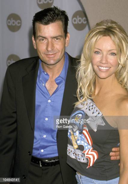 Charlie Sheen and Heather Locklear during 2000 ABC Summer Press Tour at Ritz Carlton Hotel in Pasadena California United States