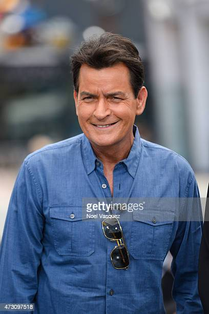 Charlie Sheen visits 'Extra' at Universal Studios Hollywood on May 12 2015 in Universal City California
