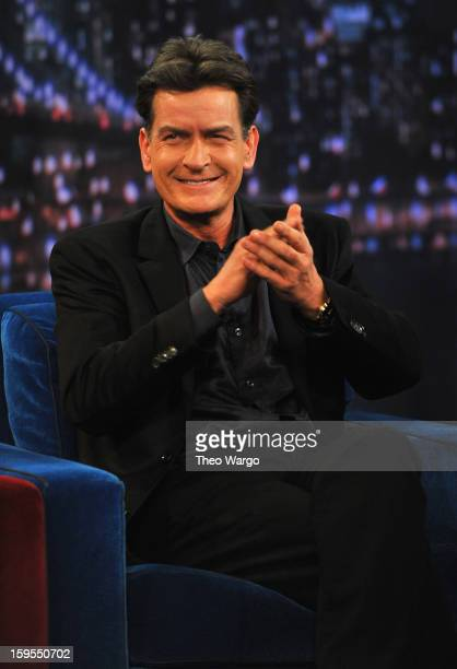 Charlie Sheen visits 'Late Night With Jimmy Fallon' at Rockefeller Center on January 15 2013 in New York City