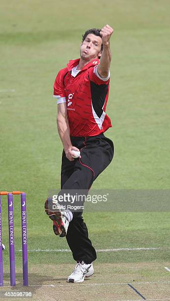 Charlie Shreck of Leicestershire bowls during the Royal London One day Cup match between Leicestershire Foxes and Worcestershire at Grace Road on...
