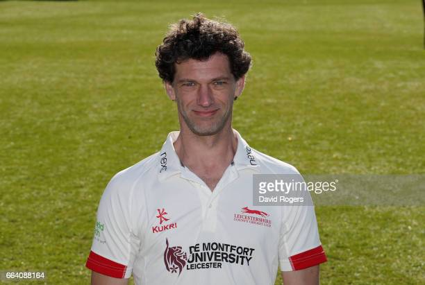 Charlie Shreck poses in the Specsavers County Championship kit during the Leicestershire County Cricket photocall held at Grace Road on April 3 2017...