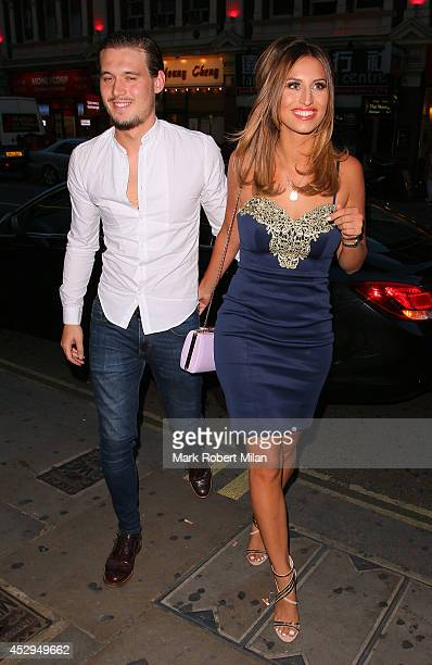 Charlie Sims and Ferne McCann at Century club for the The Only Way Is Essex wrap party on July 30 2014 in London England