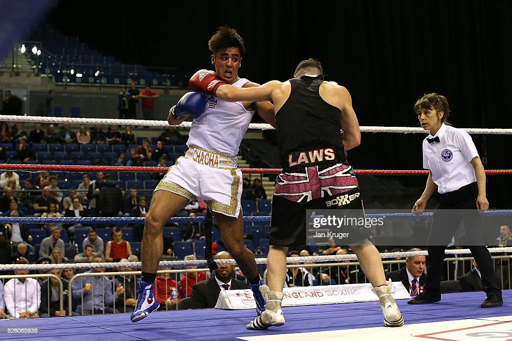 Charlie Stevens (blue) in action against Joseph Laws in their 69kg quarter final fight during day one of the Boxing Elite National Championships at Echo Arena on April 29, 2016 in Liverpool, England.