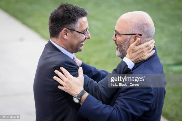 Charlie Stillitano Chairman of Relevent Sports greets Josep Maria Bartomeu President of FC Barcelona during the International Champions Cup FC...