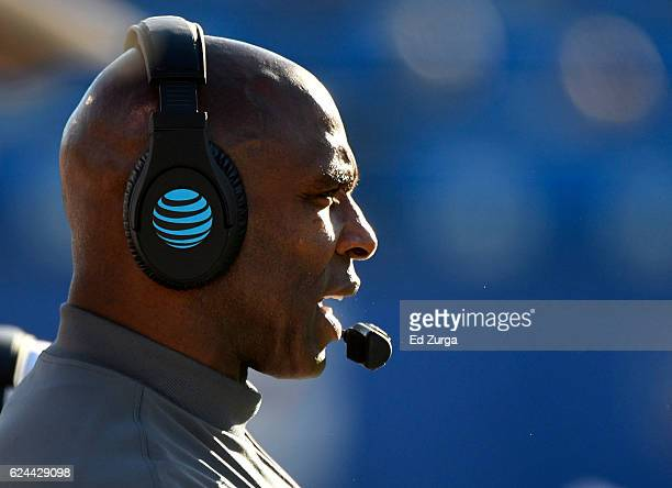 Charlie Strong head coach of the Texas Longhorns watches his team during a game Kansas Jayhawks in the first quarter at Memorial Stadium on November...