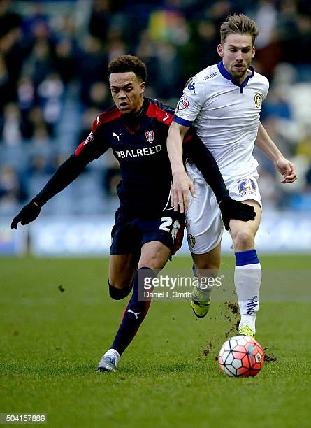 Charlie Taylor of Leeds United FC and Shay Facey of Rotherham United FC compete for the ball during The Emirates FA Cup Third Round match between...