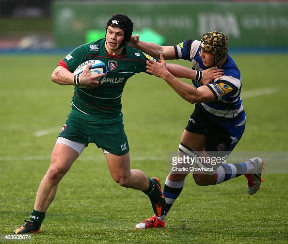 Sam Whitelock Breaks A Tackle: Leicester Tigers Academy Stock Photos And Pictures