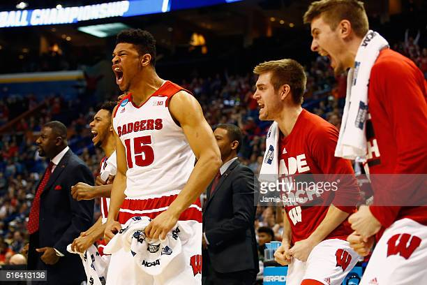 Charlie Thomas of the Wisconsin Badgers reacts on the bench in the second half against the Pittsburgh Panthers during the first round of the 2016...