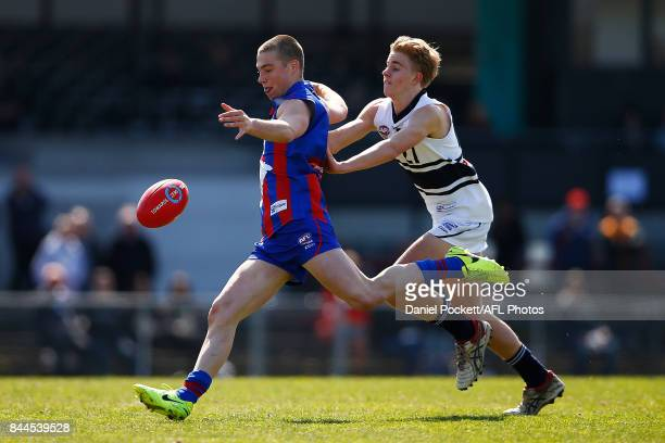 Charlie Thompson of the Chargers kicks the ball during the TAC Cup Final between Oakleigh and Northern Knights at Victoria Park on September 9 2017...