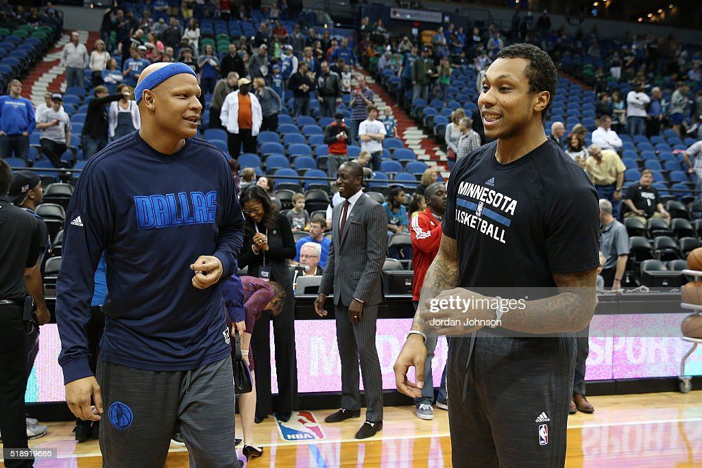 <a gi-track='captionPersonalityLinkClicked' href=/galleries/search?phrase=Charlie+Villanueva&family=editorial&specificpeople=215189 ng-click='$event.stopPropagation()'>Charlie Villanueva</a> #3 of the Dallas Mavericks and <a gi-track='captionPersonalityLinkClicked' href=/galleries/search?phrase=Greg+Smith+-+Basketballer+-+Center&family=editorial&specificpeople=11490234 ng-click='$event.stopPropagation()'>Greg Smith</a> #4 of the Minnesota Timberwolves are seen before the game on April 3 2016 at Target Center in Minneapolis, Minnesota.