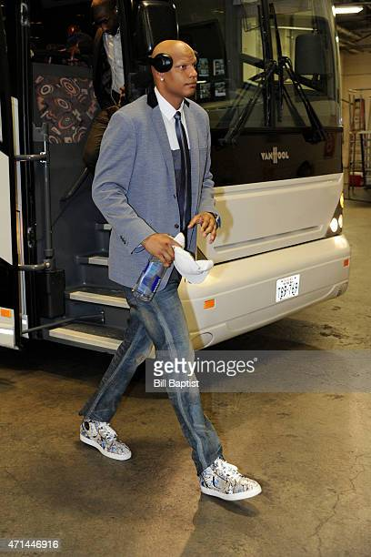 Charlie Villanueva of the Dallas Mavericks arrives at the arena before a game against the Houston Rockets in Game Two of the Western Conference...